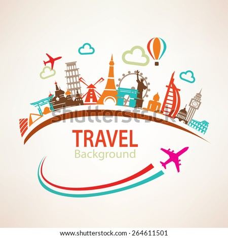 world travel, landmarks silhouettes icons set - stock vector