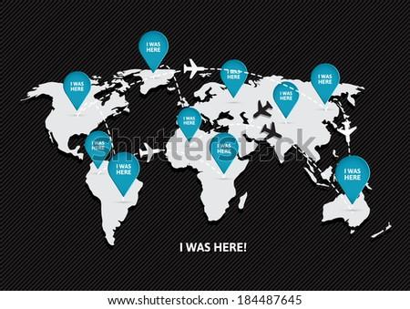 World travel Map - stock vector