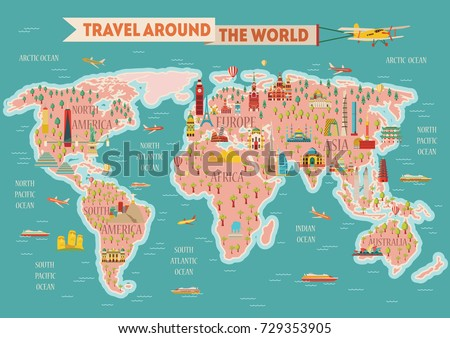 Animals world map vector illustration preschool stock vector world travel map poster travel and tourism background vector illustration gumiabroncs Choice Image
