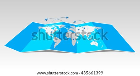 World travel map with airplanes. - stock vector