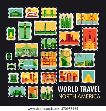 World Travel, North America. Icons set. Stamps with historical architecture in the world. Vector illustration - stock vector