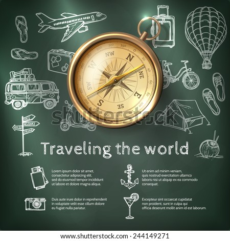 World travel poster with compass and tourism and holiday chalkboard elements vector illustration - stock vector