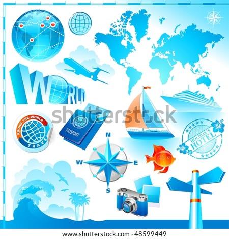 World & travel set - stock vector