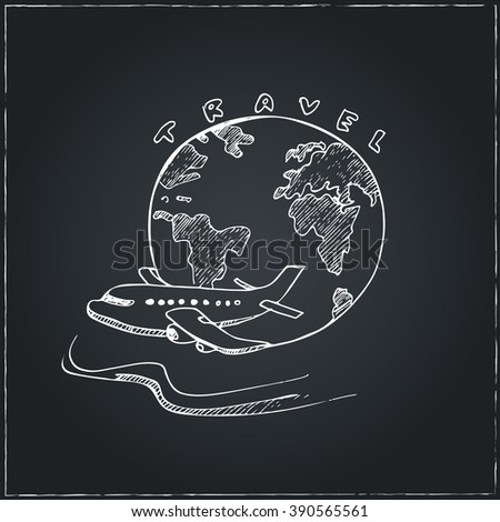 World Travel Symbol Airplane and Globe . Travel drawings. Sketches. Hand-drawing. Vector illustration of for design and packages product. Vector Illustration. - stock vector