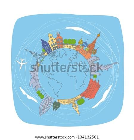 World traveling - stock vector