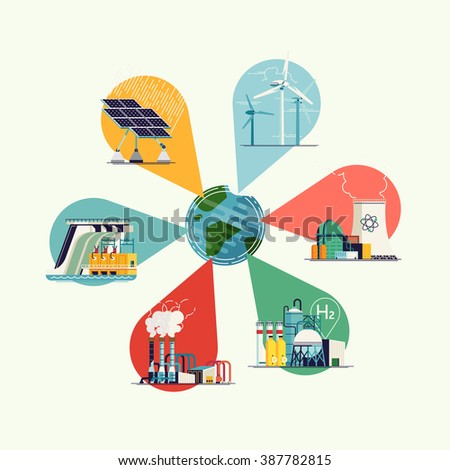 World usage of power sources infographic template. Cool vector flat design on electric power on planet Earth - stock vector