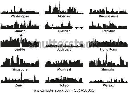 World vector black skyline silhouettes - stock vector