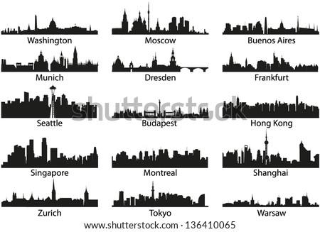 World vector black skyline silhouettes - stock vector