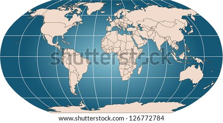 World vector map countries graticule robinson stock vector world vector map with countries and graticule in robinson projection for 110m scale borders are gumiabroncs Images
