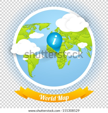 World Vector Map with Marks and Web Elements Template, Icons Navigation Menu.