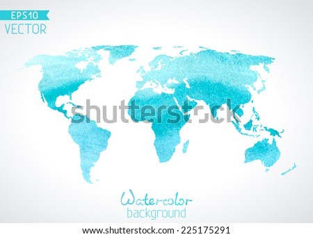 World vector watercolor map isolated on light background. Vector illustration.  - stock vector