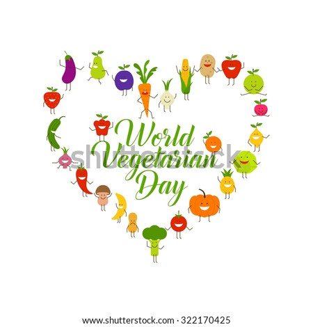 World vegetarian day vector, cartoon vegetables character and vegetarian, health slogan - stock vector