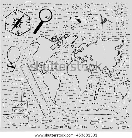 World vintage map. Travel and geography chalk picture. Vector illustration. Hand drawn image. Artistic creative concept. White and black colors - stock vector