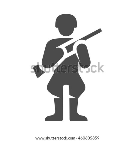World War army icons in single color. Weapon riffle uniform - stock vector