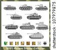 World War 2 German armour collection - stock vector