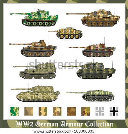 World War 2 German armour collection with applied camouflage - stock vector