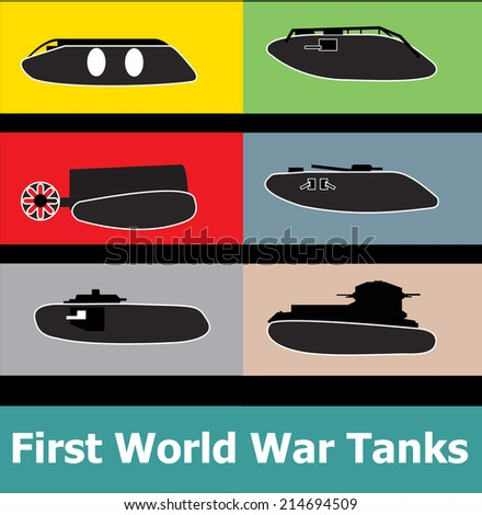 World war I military tank icon set - stock vector