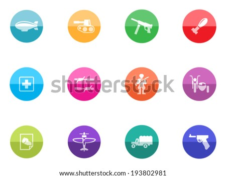 World war icons in color circles - stock vector