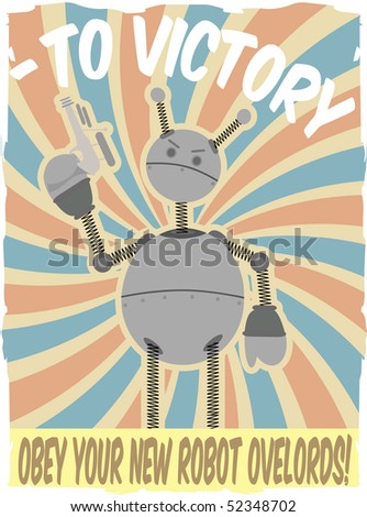 World War II Poster Faux Robot Invasion Vector - stock vector
