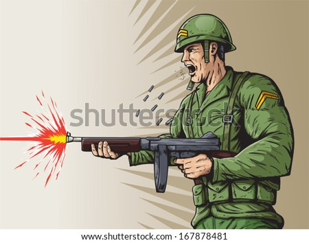 World War 2 soldier - stock vector
