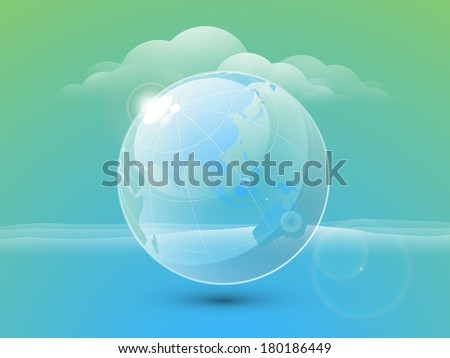 World water day concept with beautiful blue globe on green and blue background.   - stock vector