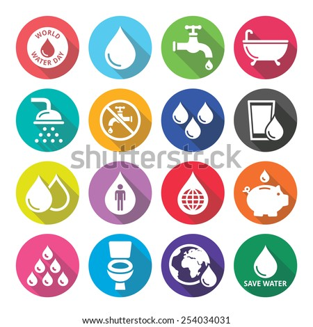 World Water Day flat design round icons - ecology, green concept  - stock vector