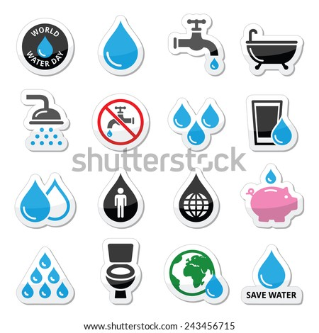World Water Day icons - ecology, green concept  - stock vector