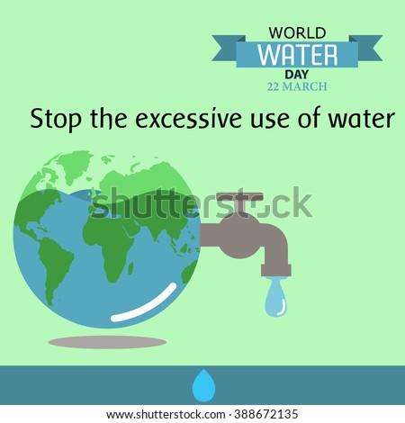 World water day illustration cartoon design 08 - stock vector