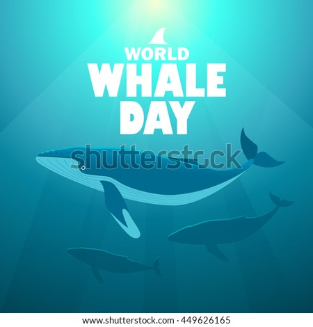 World whale day vector posture with humpback whales swimming under water in the rays of sunshine. - stock vector