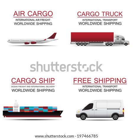 world wide cargo transport vector concept - stock vector
