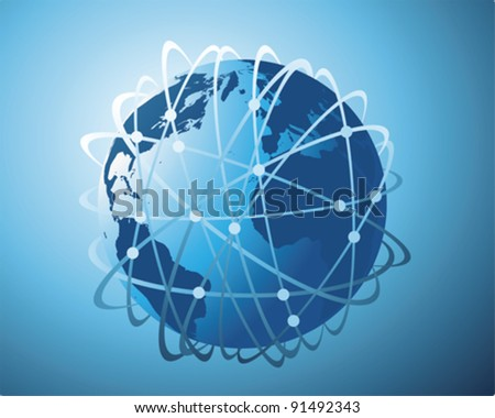 world wide data transfer - stock vector