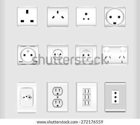 world wide electric plug sockets vector illustrations - stock vector