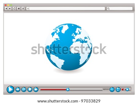 World wide web browser with globe and video control buttons - stock vector
