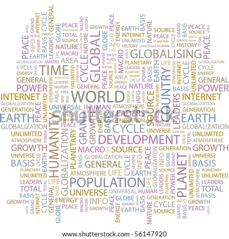 WORLD. Word collage on white background. Illustration with different association terms. - stock vector
