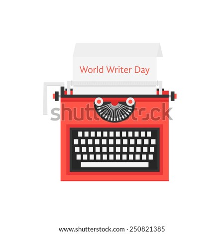 world writer day with red typewriter. concept of sign freelancing, storytelling, literature, success, creative. isolated on white background. flat style trendy modern logo design vector illustration - stock vector
