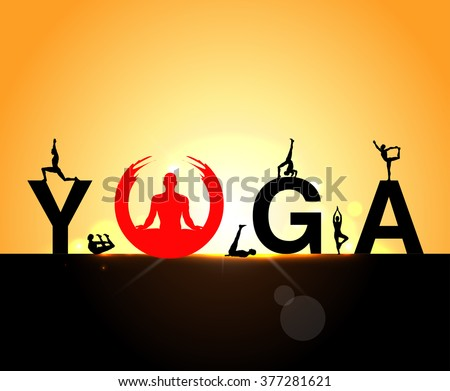 World Yoga Day vector illustration, sunrise background, Yoga infographics, mental and physical benefits of practice - vector eps10 - stock vector