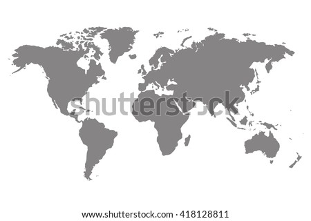 Worldmap vector template. World map for infographic. Gray blank world map.  Silhouette world map. Isolated world map. Stock vector world map. - stock vector