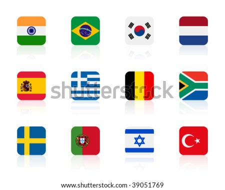 worlds flags 2 | square - stock vector