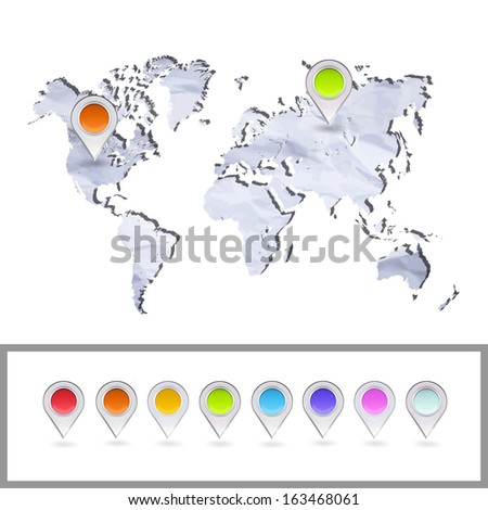 Worlds map over white background. Vector background - stock vector