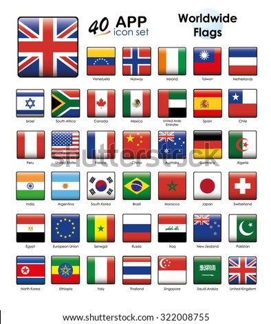worldwide flags icon set. Square buttons suitable for Apps and Websites.