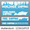 Worldwide free shipping banners collection. - stock photo
