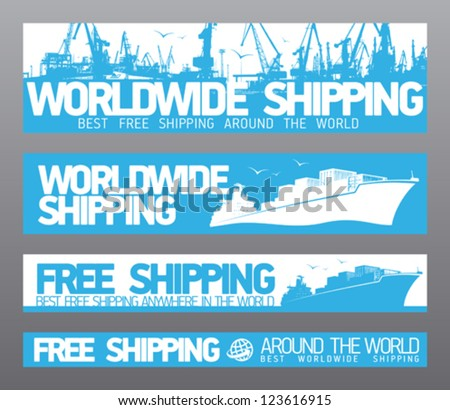 Worldwide free shipping banners collection. - stock vector