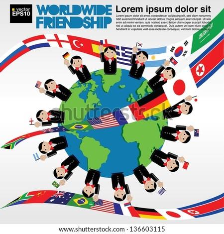 Worldwide friendship conceptual illustration vector.EPS10 - stock vector