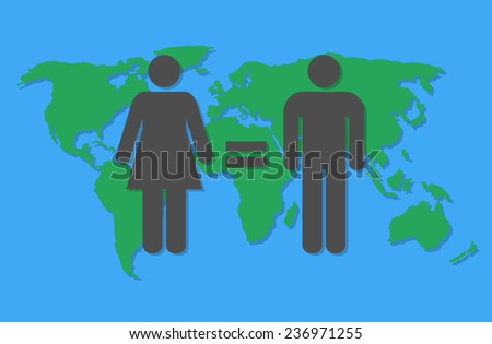Worldwide gender equality concept. Flat design - stock vector