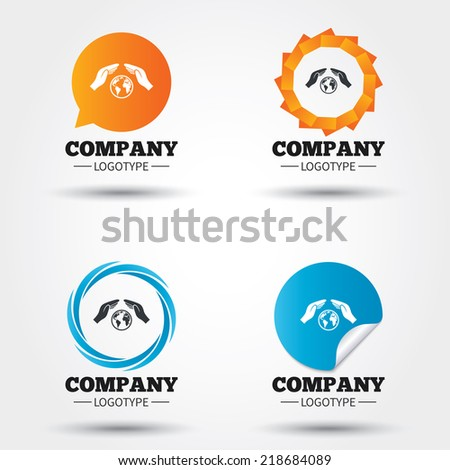 Worldwide insurance sign icon. Hands protect cover symbol. Travel insurance. World peace. Save planet. Business abstract circle logos. Icon in speech bubble, wreath. Vector - stock vector