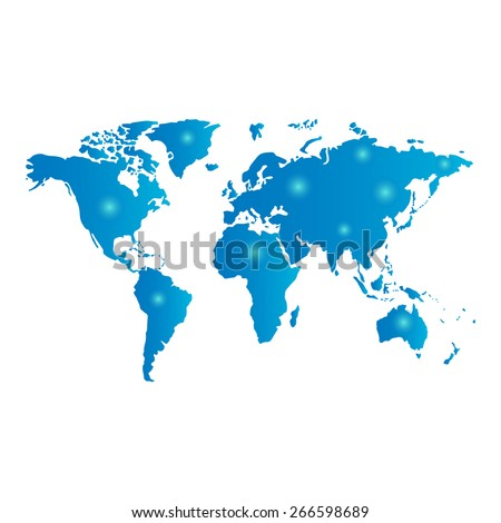 worldwide network on the blue world map - stock vector