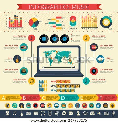 Worldwide nostalgic retro music apps users statistics map and schemas infographic presentation poster abstract flat vector illustration - stock vector