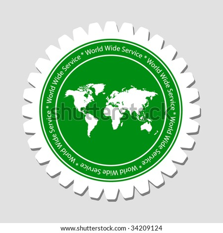 Worldwide Service Label with Earth Map - stock vector