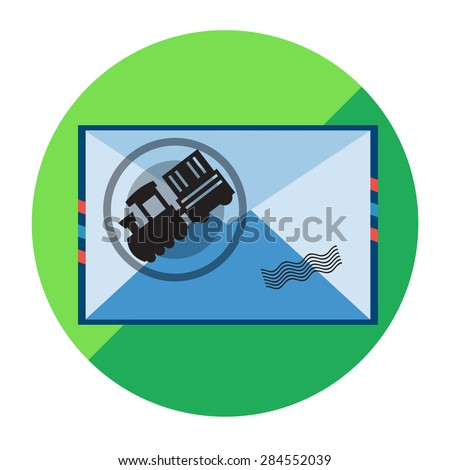 Worldwide Shipping, Transportation, Mail Delivery by Railway, Train Service.. Vector Illustration - stock vector