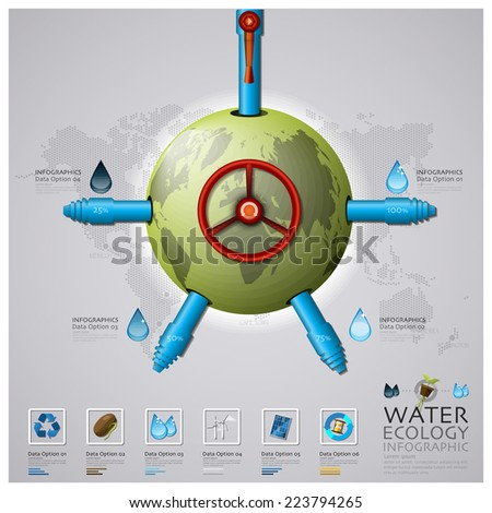 Worldwide Water Pipeline Ecology And Environment Infographic Design Template - stock vector